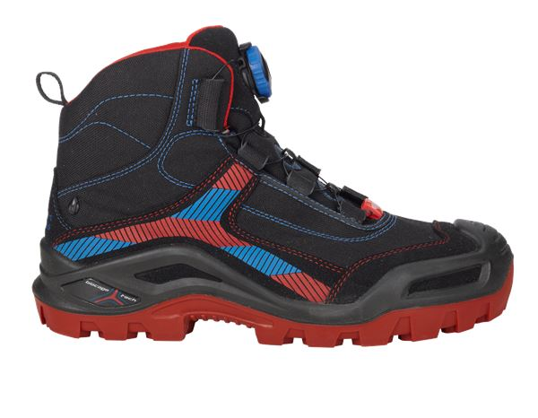 Safety Shoes S3: e.s. S3 Safety boots Kastra mid + black/fiery red/gentian blue