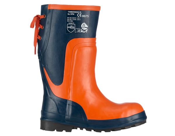 SB: SB Forestry safety boots Timberman III + blue/orange