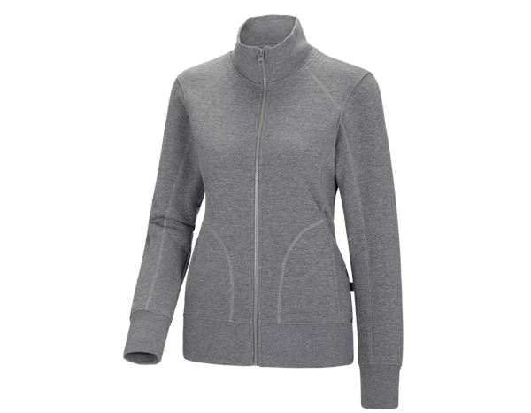 Shirts, Pullover & more: e.s. Sweat jacket poly cotton, ladies' + grey melange