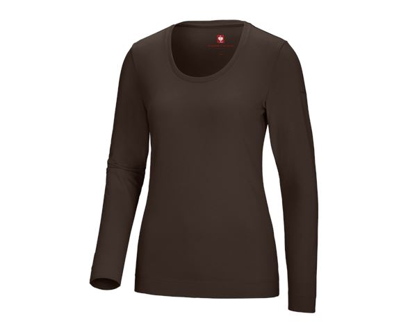 Shirts, Pullover & more: e.s. Long sleeve cotton stretch, ladies' + chestnut