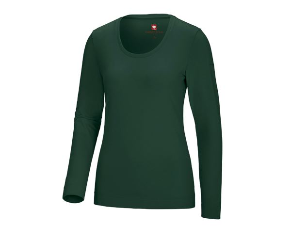Shirts, Pullover & more: e.s. Long sleeve cotton stretch, ladies' + green