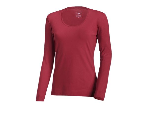 Shirts, Pullover & more: e.s. Long sleeve cotton stretch, ladies' + bordeaux