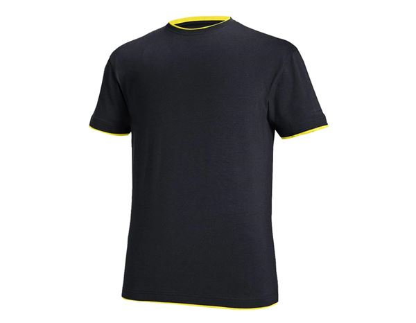 Överdelar: e.s. T-Shirt cotton stretch Layer + safir/citrus