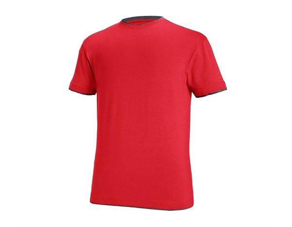T-Shirts: e.s. T-shirt cotton stretch Layer + fiery red/black