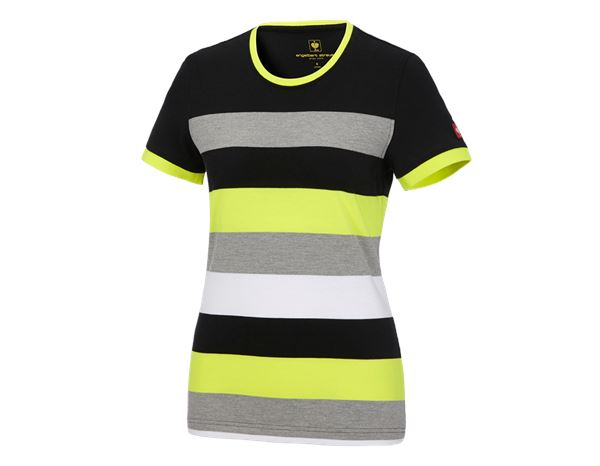 Shirts, Pullover & more: e.s. Pique-Shirt  cotton stripe, ladies' + black/high-vis yellow