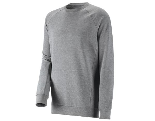 Shirts, Pullover & more: e.s. Sweatshirt cotton stretch, long fit + grey melange