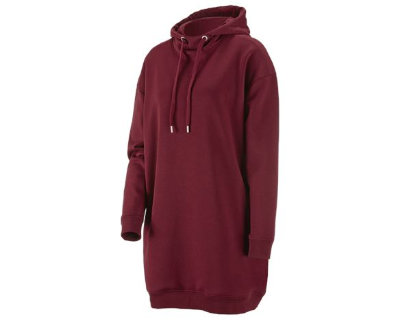 Shirts, Pullover & more: e.s. Oversize hoody sweatshirt poly cotton, ladies + bordeaux