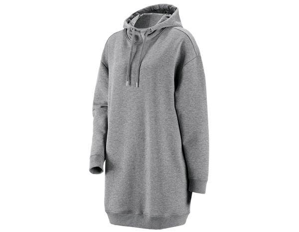 e.s. Oversize huv sweatshirt poly cotton, damer gråmelerad