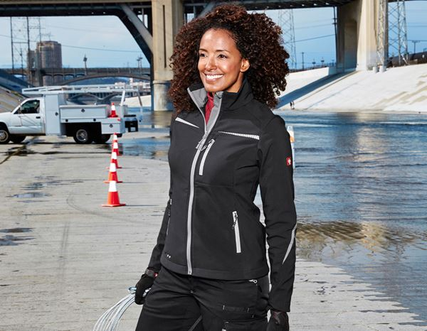 Work Jackets: Softshell jacket e.s.motion 2020, ladies' + black/platinum 2
