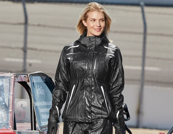 Work Jackets / Body Warmer: Rain jacket e.s.motion 2020 superflex, ladies + black/platinum