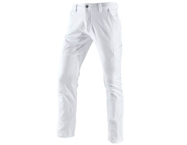 Work Trousers: e.s. Trousers Chino, men's + white