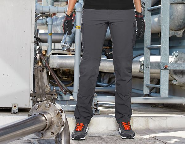 Work Trousers: Funct. cargo trousers e.s.dynashield solid, ladies + anthracite