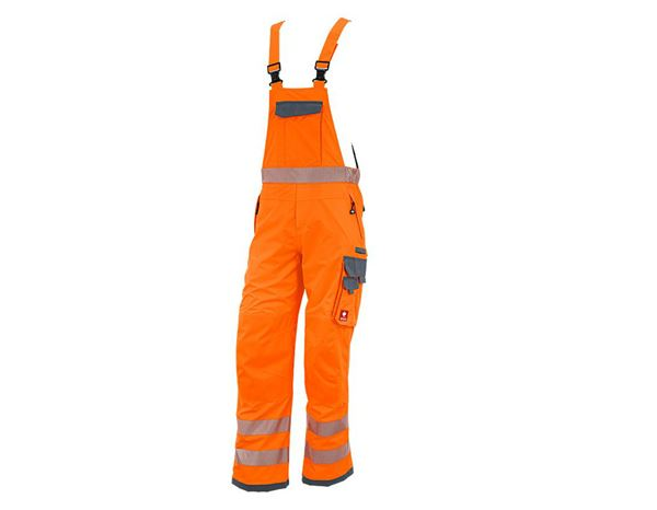 High-Vis Trousers: High-vis functional bib & brace e.s.prestige + high-vis orange/grey
