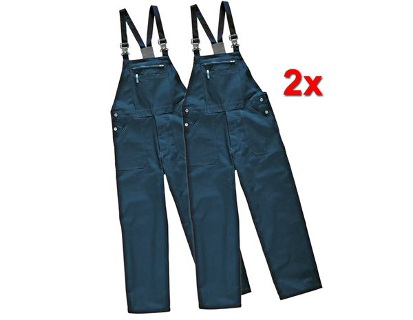 Work Trousers: Basic - cotton Bib and Brace (pack of 2) + navy