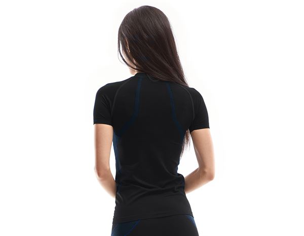 Thermal Underwear: e.s. functional-t-shirt seamless-warm, ladies' + black/gentian blue 1