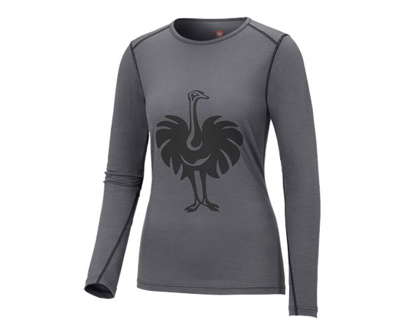Thermal Underwear: e.s. Long sleeve Merino, ladies' + cement/graphite