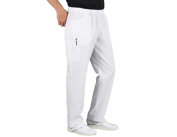 Work Trousers: Pull-on pants Peter + white