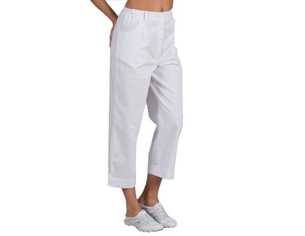 Work Trousers: Stretch pants 7/8 Sabrina + white