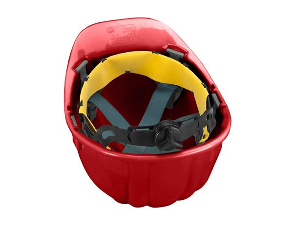 Hard Hats: Safety helmet Baumeister, 6-point, rotary fastener + red 1