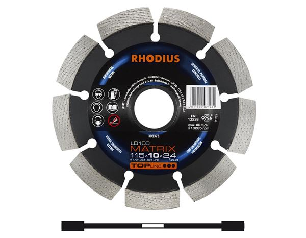 Cutting- / Sanding Discs: Rhodius diamond cutting wheel for processing stone
