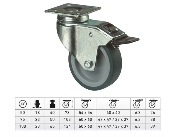 Spare casters/wheels: Castor with Swivel and Brake