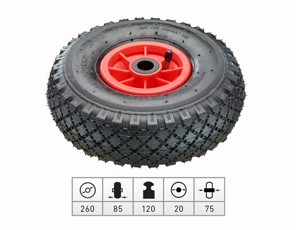 Spare casters/wheels: Spare pneumatic wheel with plastic wheel rim