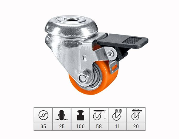 Spare casters/wheels: Comp. heavy-duty rollers with rear hole + brake