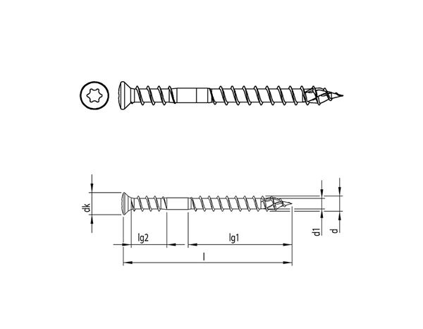 Screws: HECO-TOPIX® Patio screw raised counters. head T A2 1