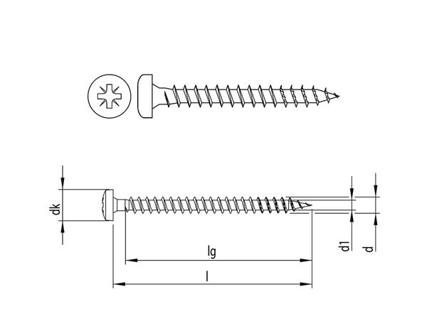 Screws: HECO-FIX-plus® univ.screw semicircul.head PZ VG zn 1