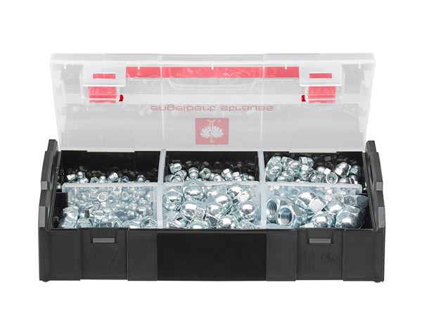 System boxes: Cap nuts, DIN 1587, 395 pieces